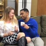 Megan and Stanley enjoying some hot chocolate in the library basement.