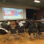 Students gather in the MSC Main Room for election results.